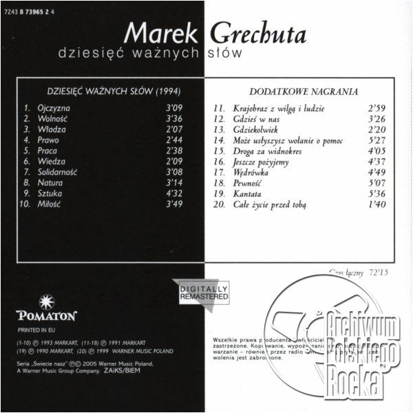 Marek Grechuta - Dziesięć ważnych słów