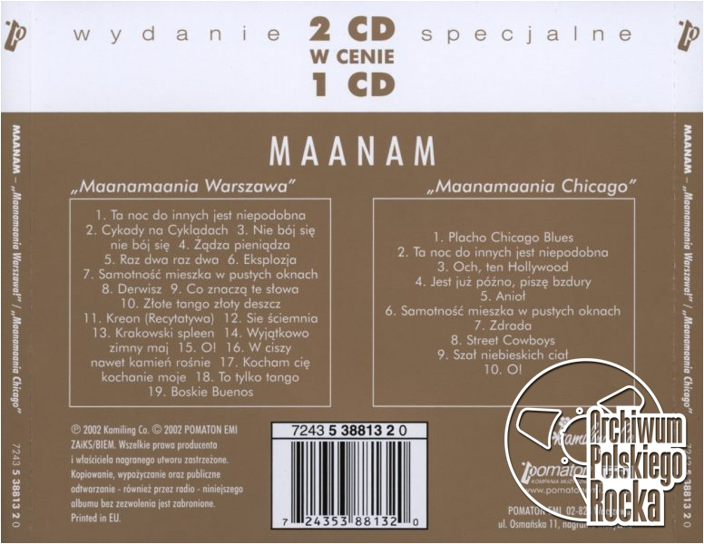 Maanam - Maanamaania Warszawa / Maanamaania Chicago