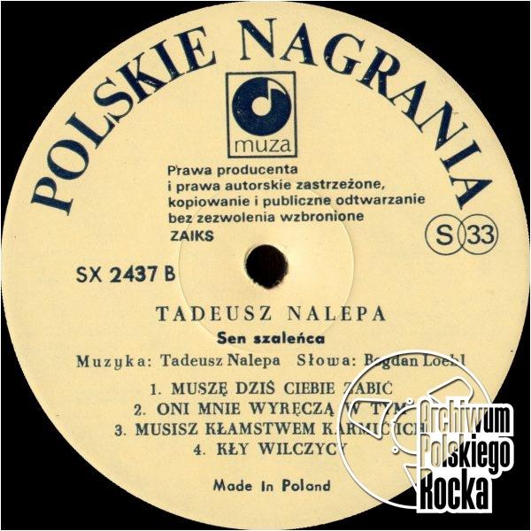 Nalepa, Tadeusz - Sen szaleńca