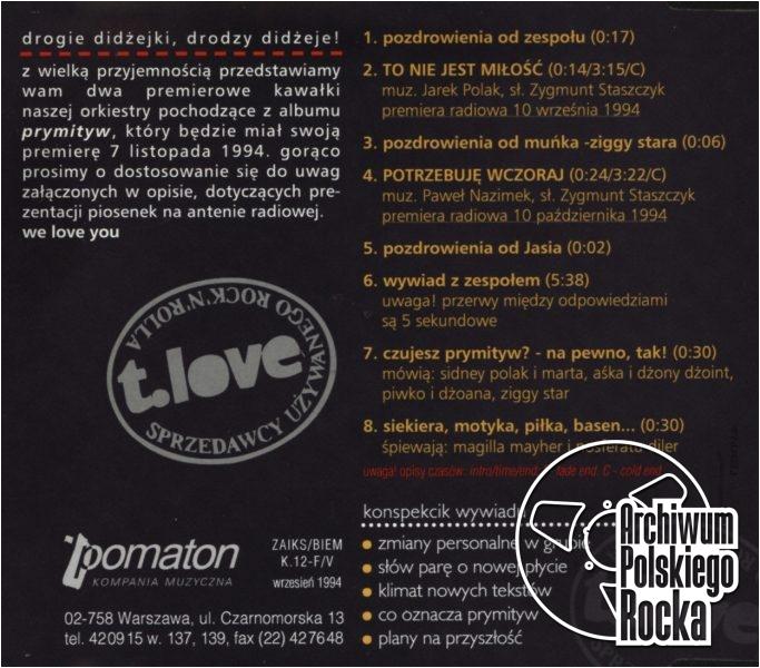 T.Love - Prymityw - płyta promocyjna